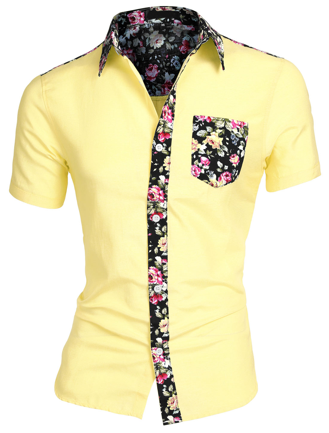 Men Floral Print Round Hem Chest Pocket Short Sleeve Button Down Shirt Light Yellow S