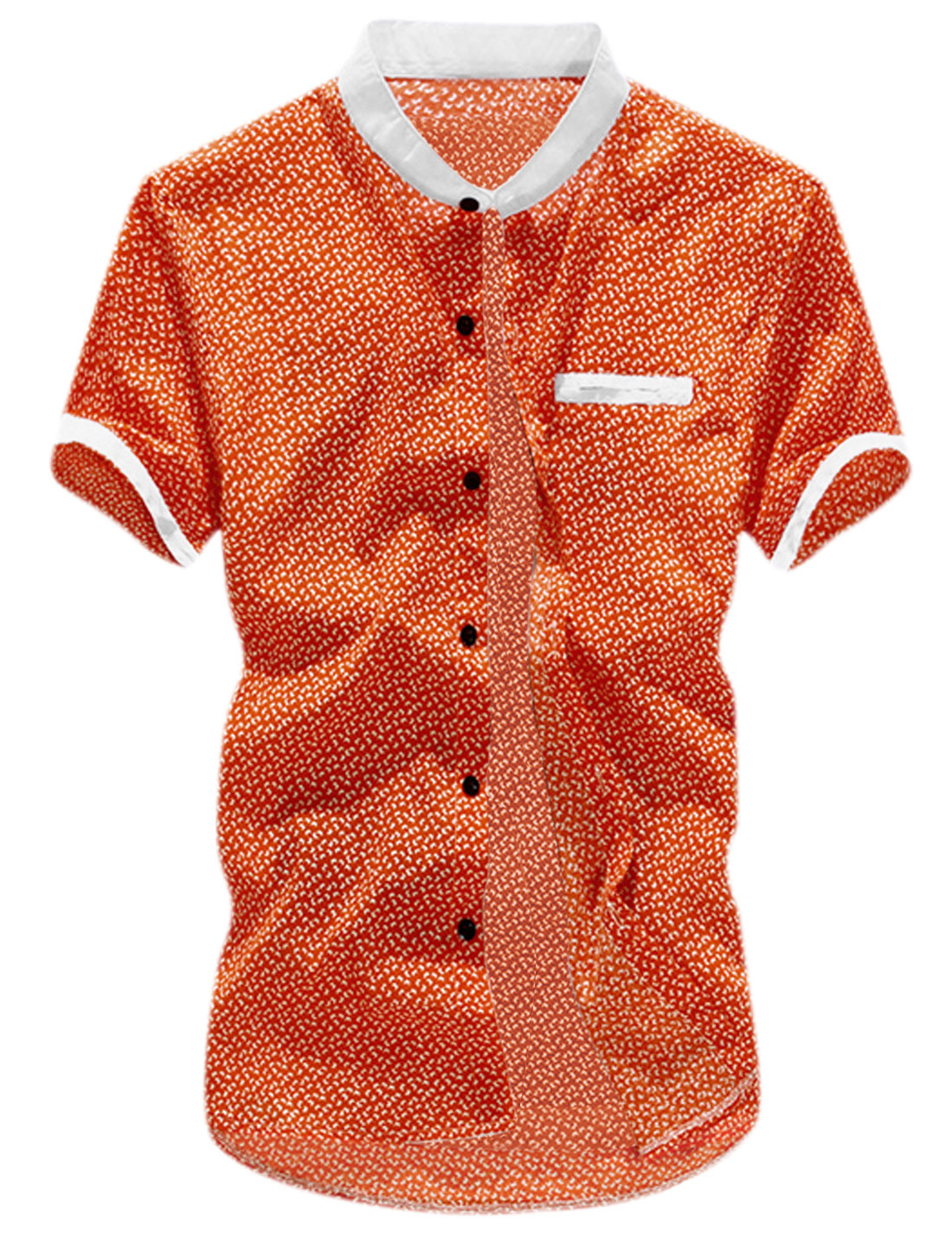 Men Stand Collar Mini Butterfly Prints Casual Shirt Orange M