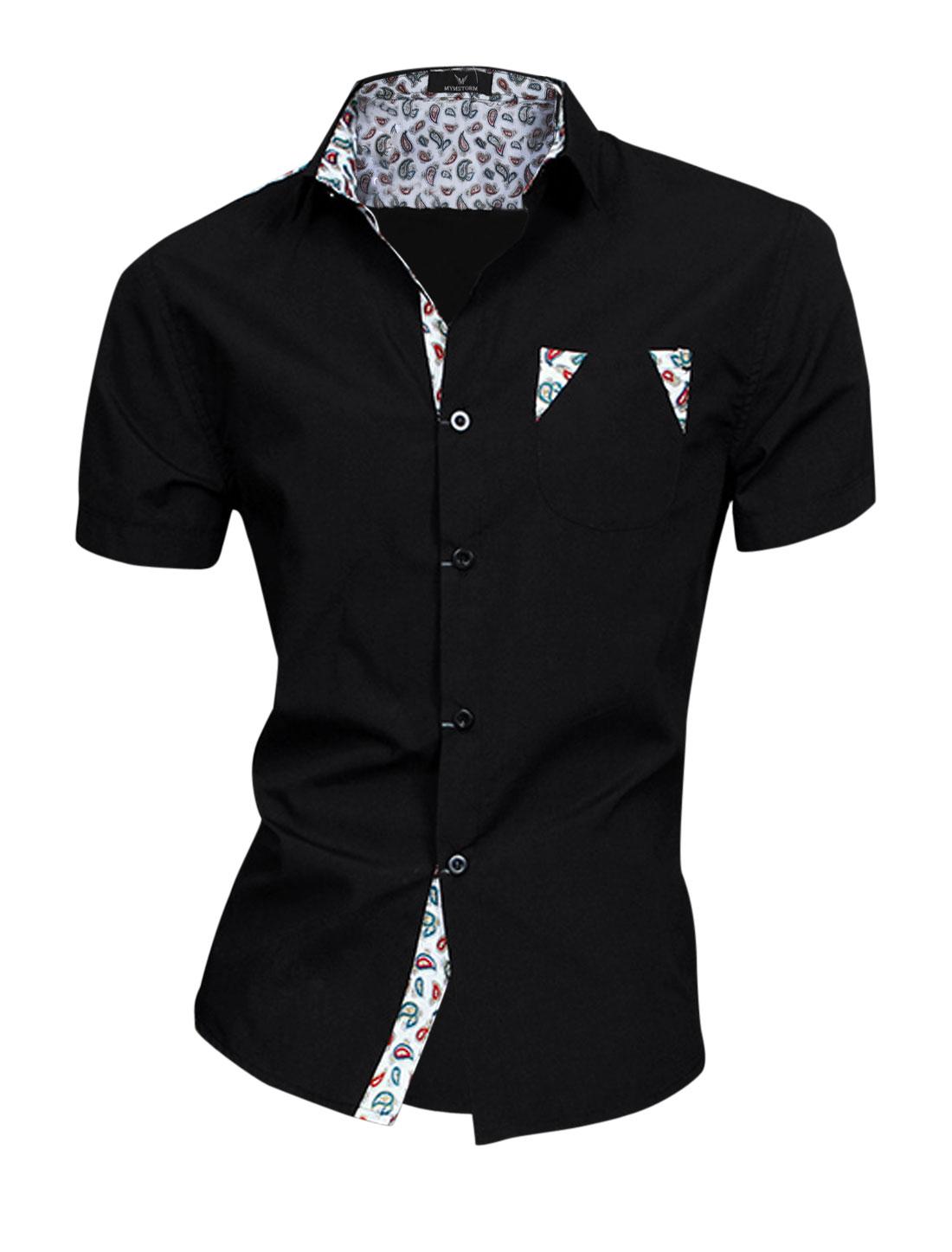 Men Paisleys Pattern Single Breast Pocket Soft NEW Top Shirt Black M
