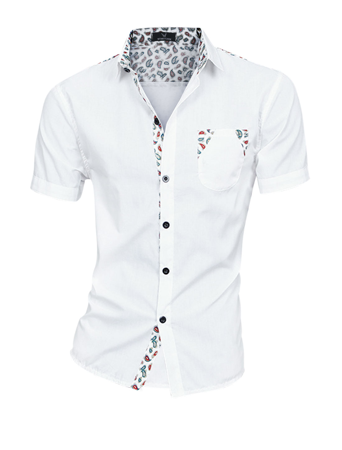 Men Paisleys Pattern Short Sleeve Patching Soft NEW Top Shirt White M