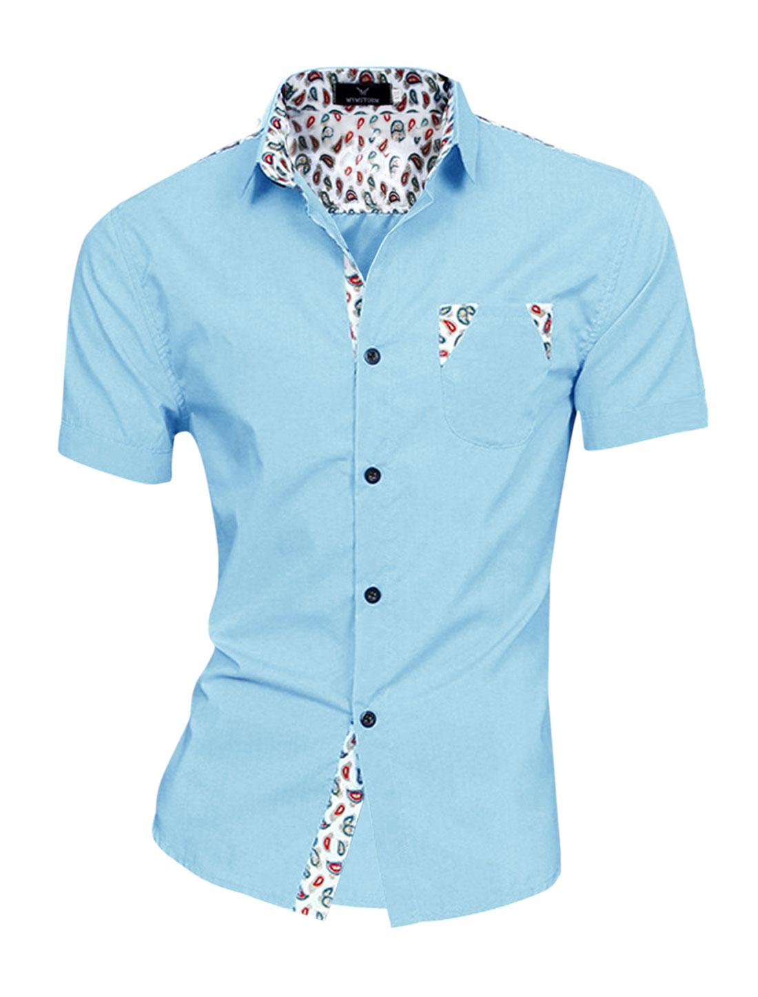 Men Paisleys Pattern Patching Fashion Top Shirt Light Blue M