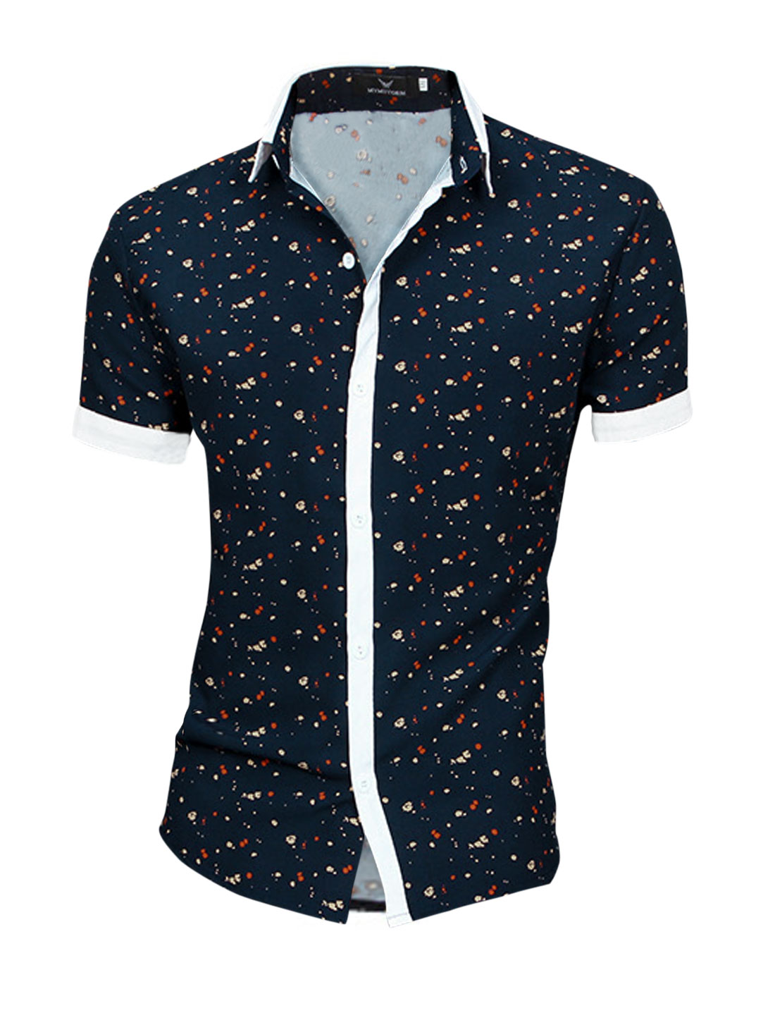 Men Point Collar Dots Pattern Panel Chic NEW Top Shirt Navy Blue M