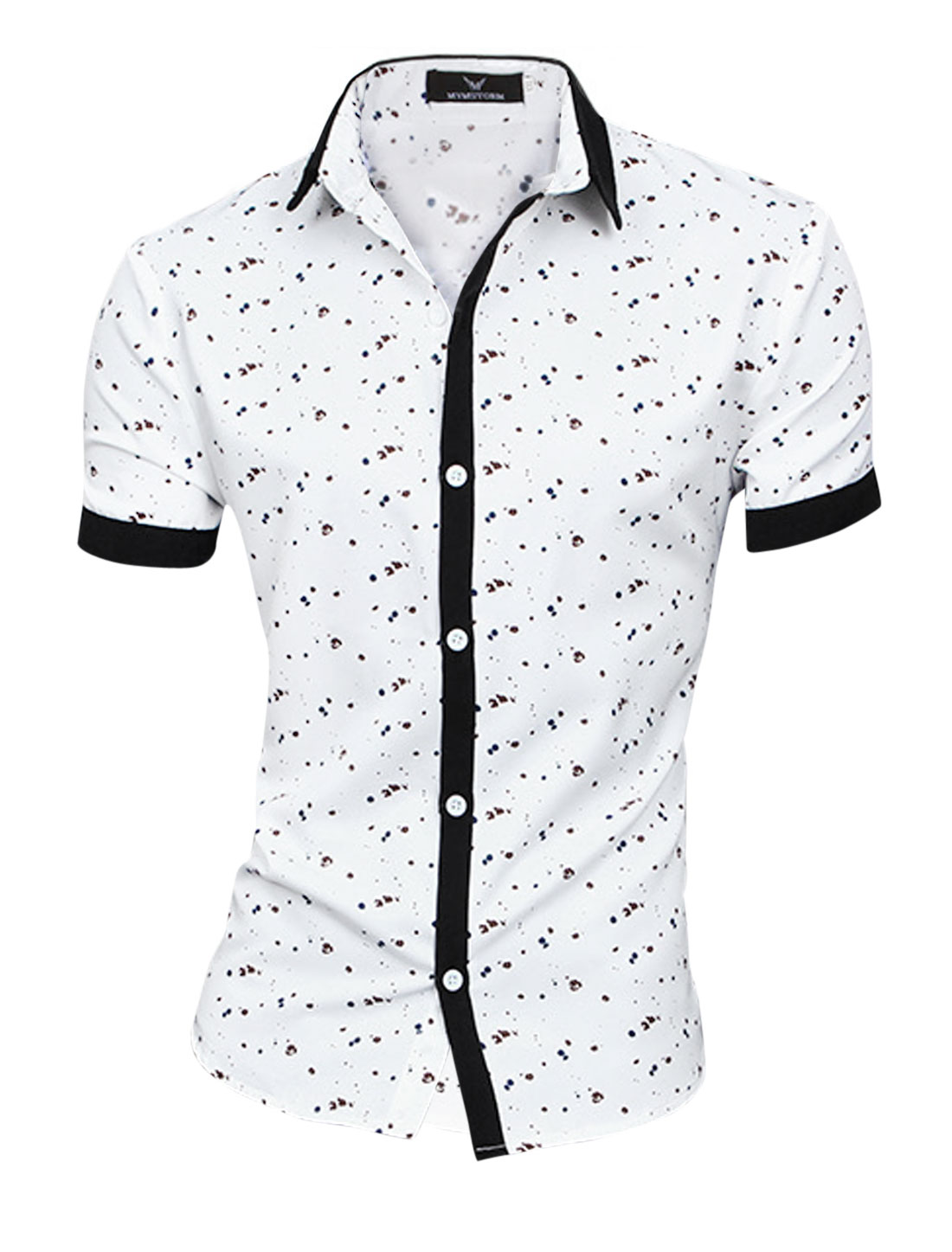 Men Point Collar Dots Patching Fashion NEW Top Shirt White M