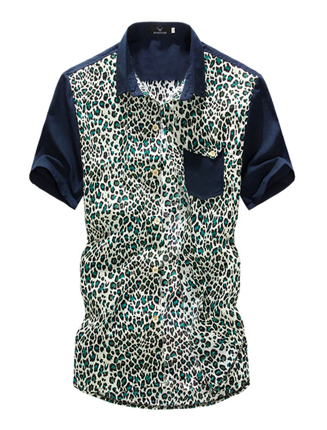 Men Point Collar Leopard Prints Single Breasted Short-sleeve Shirt Turquoise M
