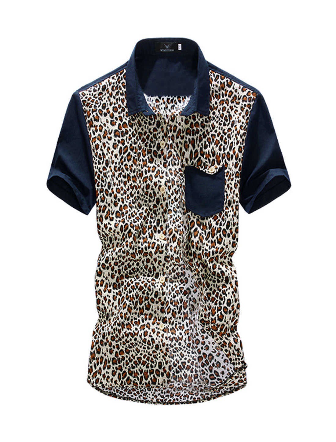 Men Leopard Prints Single Breasted Short-sleeve Casual Shirt Coffee M