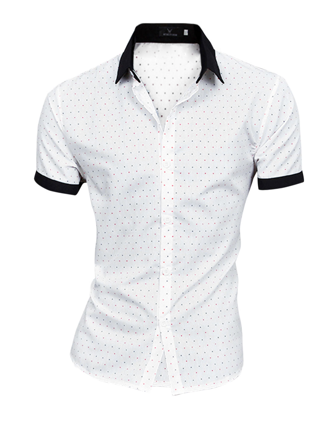 Men Point Collar Hearts Pattern Chic NEW Top Shirt White M