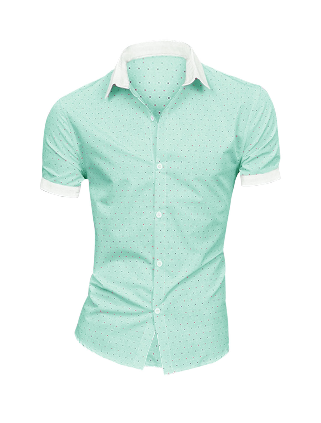 Men Panel Hearts Pattern Chic NEW Top Shirt Light Green M