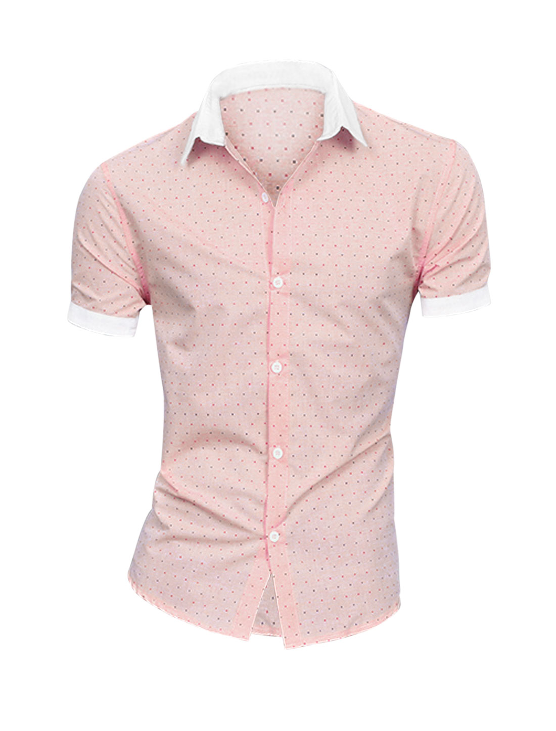 Men Trendy Hearts Pattern Buttons Closed Top Shirt Light Salmon M