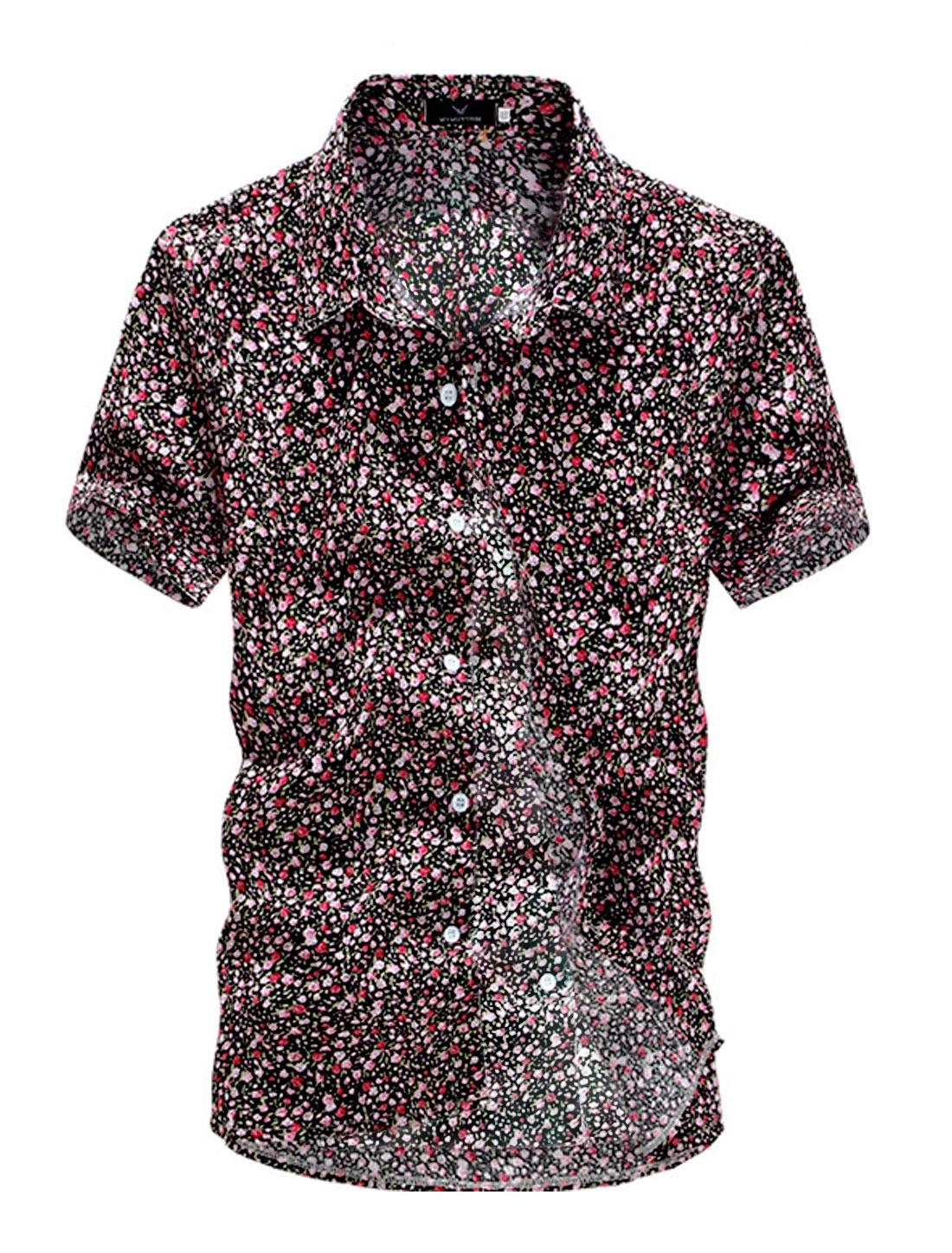 Short Sleeve Floral Prints Button Down Summer Shirt for Men Black M