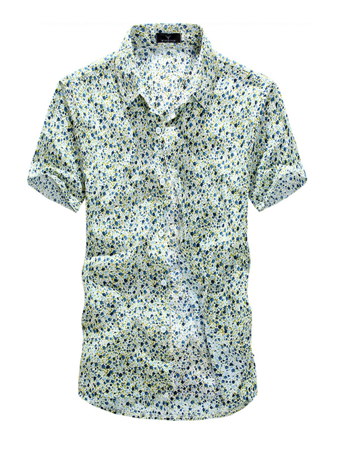 NEW Short Sleeve Floral Prints Button Down Shirt for Men Dark Blue M