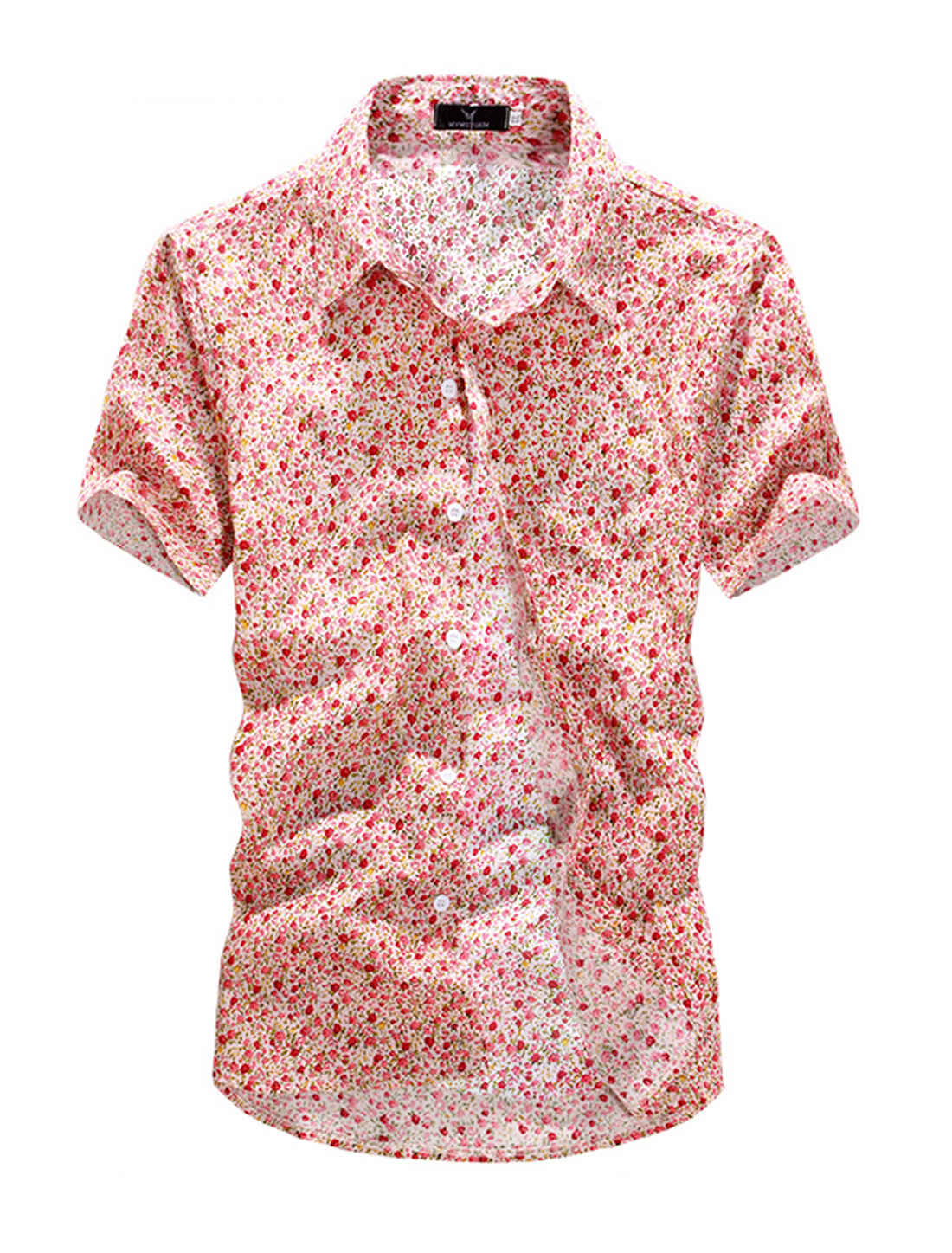 Short Sleeve Floral Prints Button Down Shirt for Men Deep Pink M