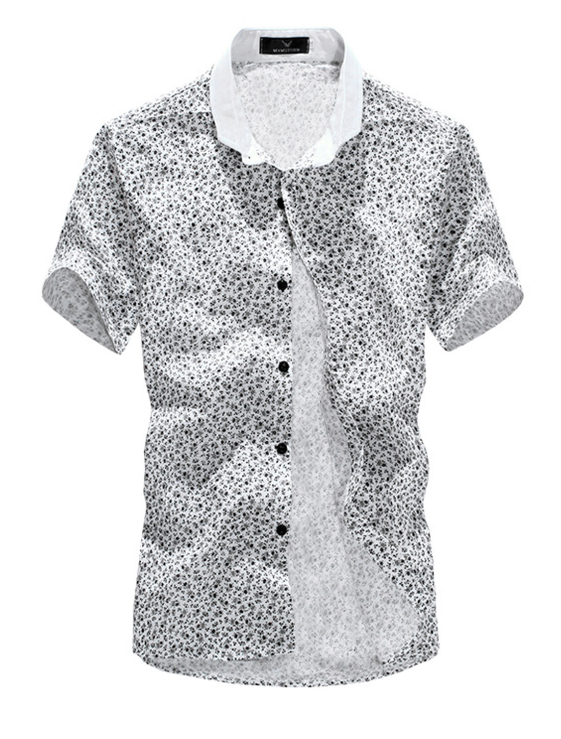 Buttons Closure Floral Prints Cozy Fit Top Shirt for Men White M