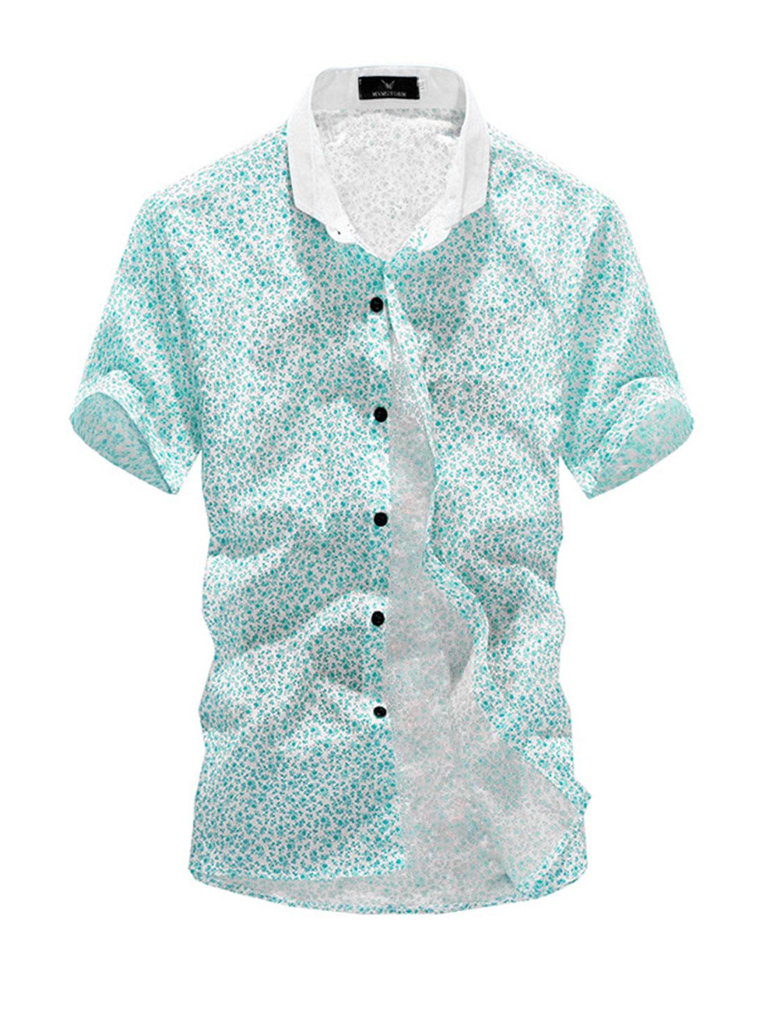 Buttons Closure Short Sleeve Trendy Floral Shirt for Men Aqua White M