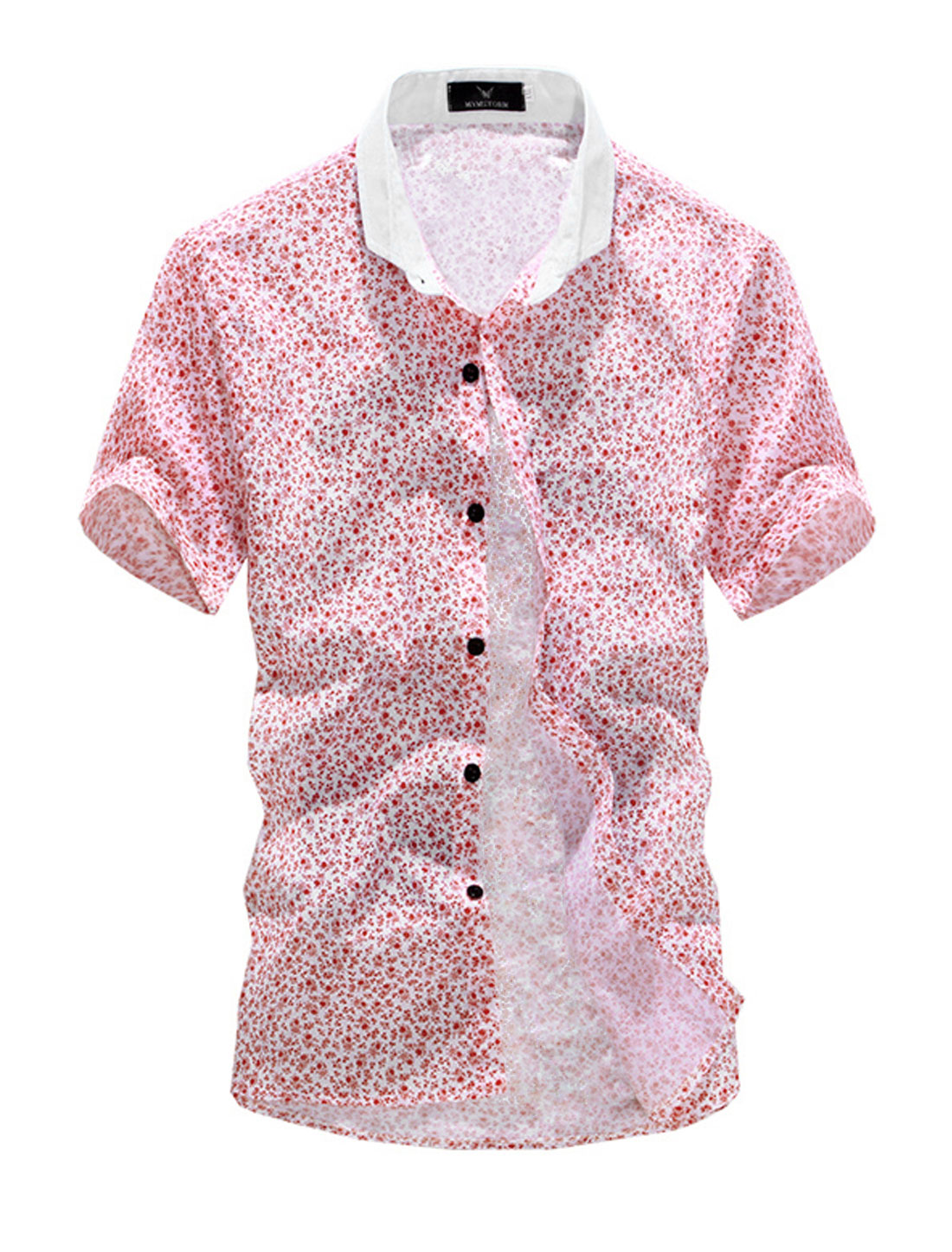 Point Collar Buttons Closed Flower Top Shirt for Men Red White M