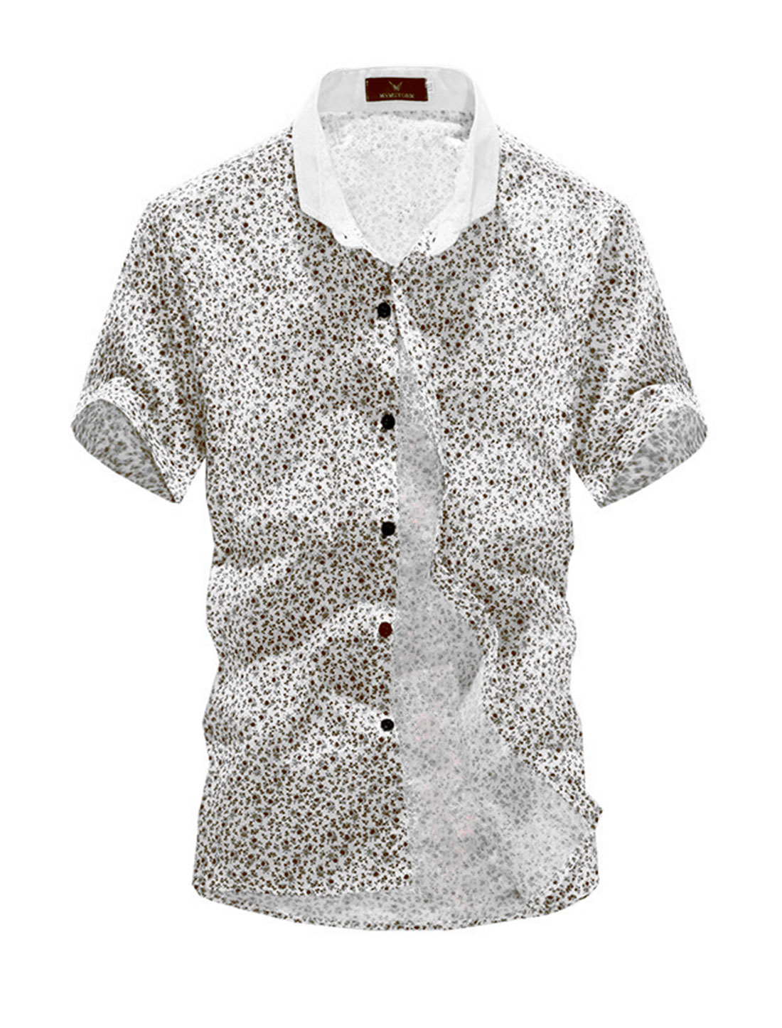 Men Buttons Closure Summer Chic Floral Top Shirt White Coffee M