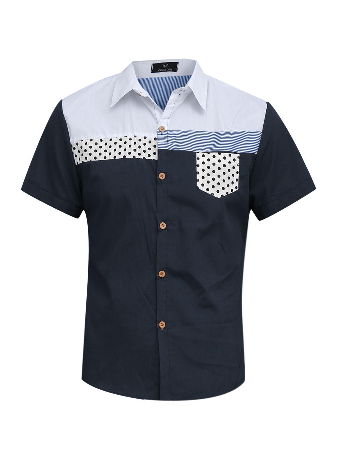 Men Dots Stripes One Chest Pocket Cozy Fit Top Shirt Navy Blue M