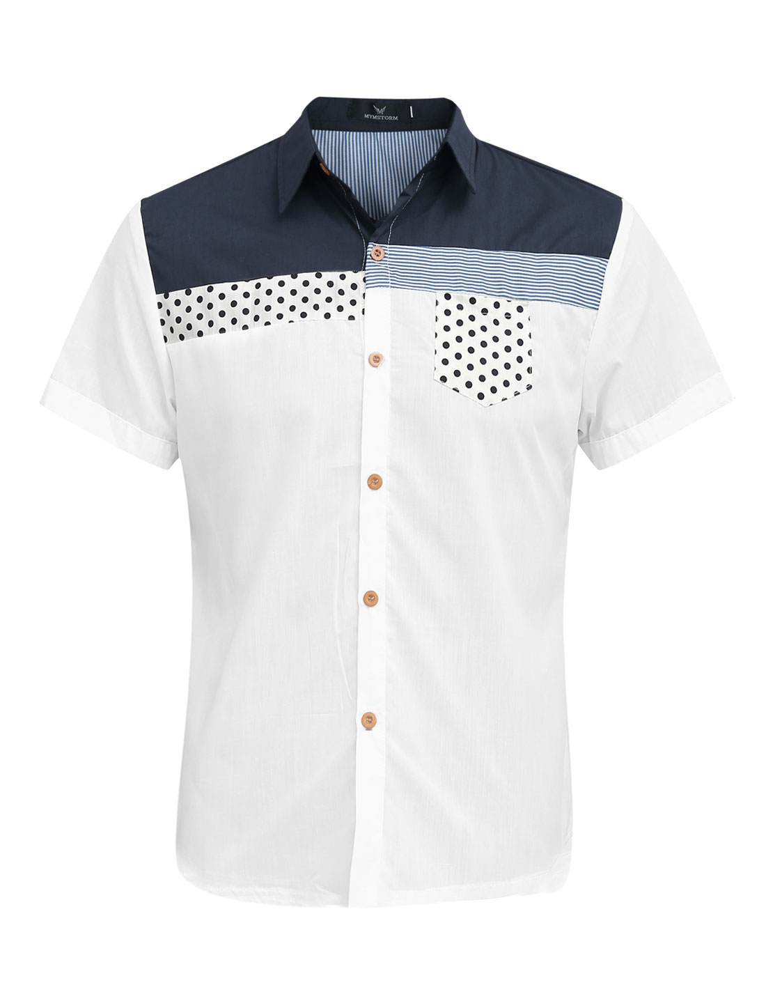 Men Dots Pattern One Chest Pocket Cozy Fit Top Shirt White M