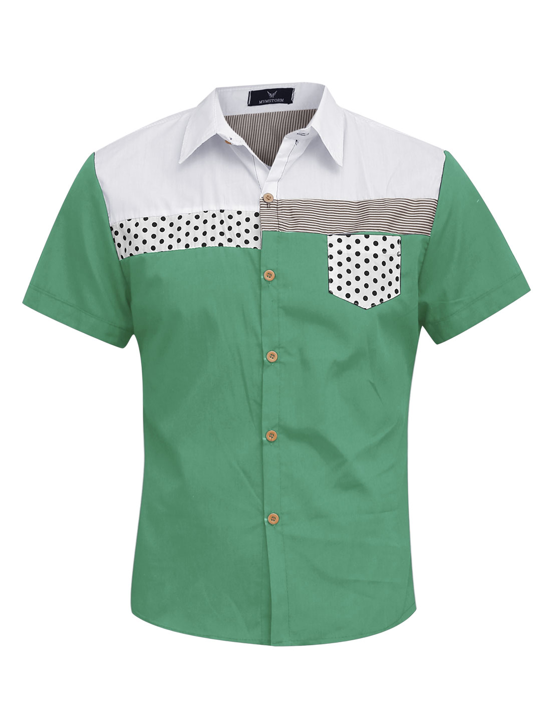 Men Buttons Up Closed Chest Pocket Summer Casual Shirt Green M