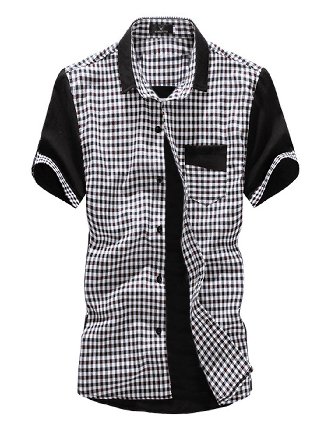 Men Point Collar Plaids Pattern Single Breasted Short-sleeve Shirt Brown M
