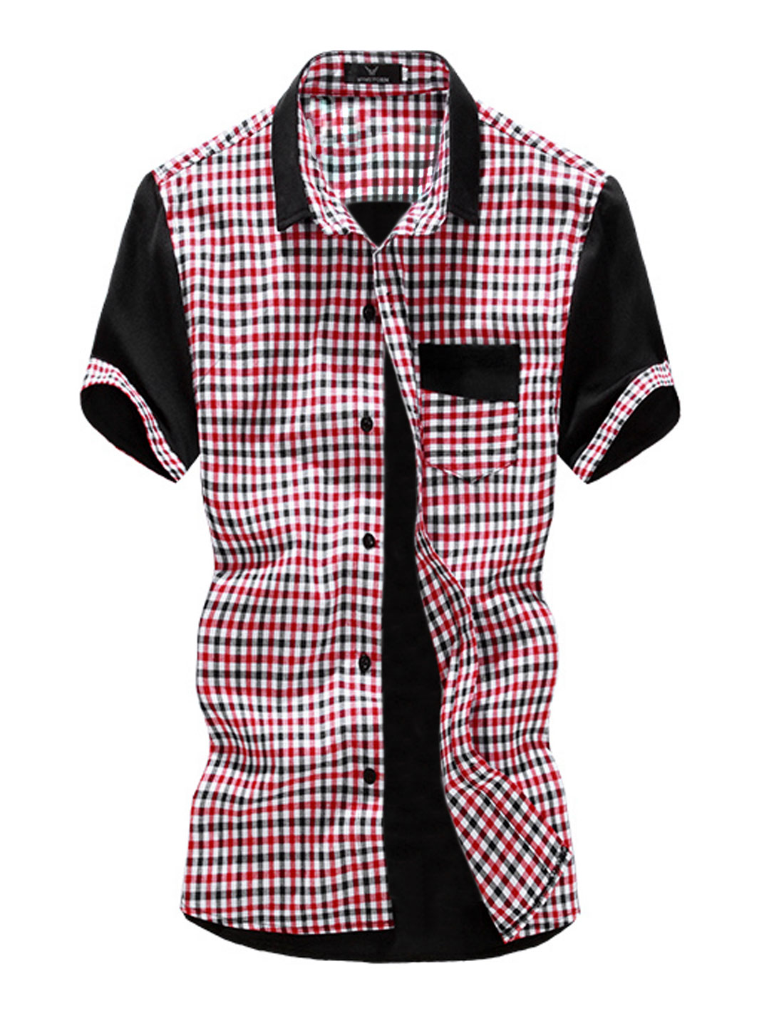 Point Collar Single Chest Pocket Slim Fit Plaids Shirt for Men Red M