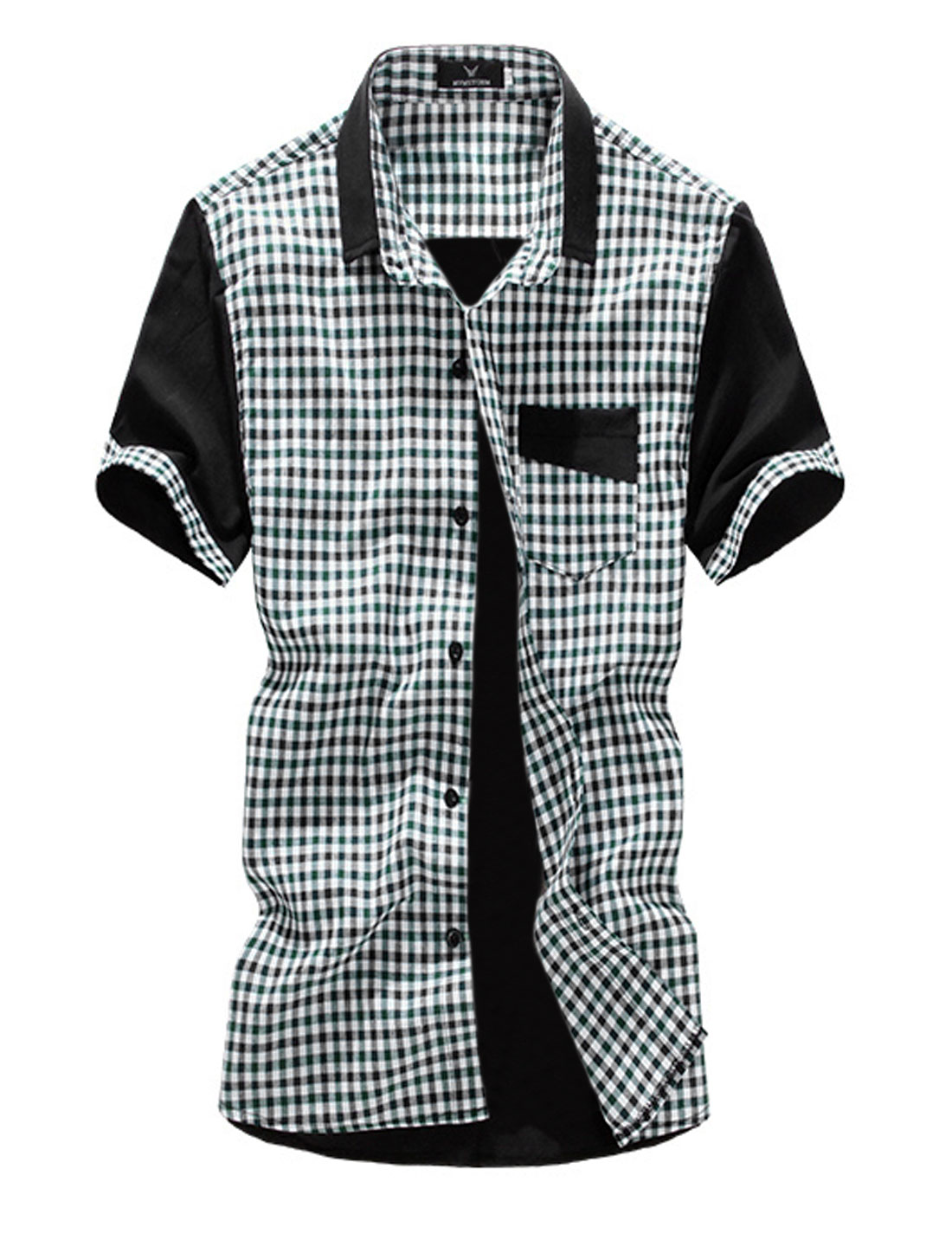 Man Button Closed Panel Design Plaids Leisure Shirt Green M