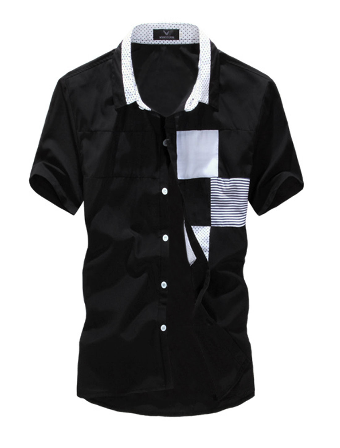 Men Leisure Dots Prints Colorblock Button Up Shirt Black M