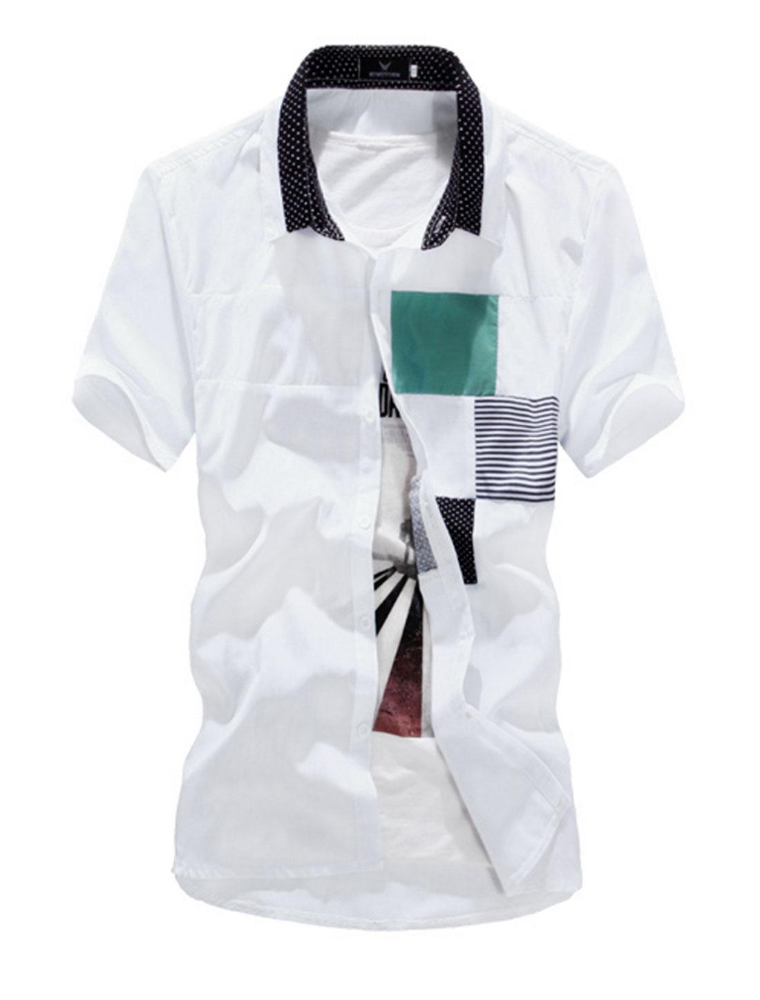 Men Point Collar Dots Prints Colorblock Button Up Shirt White M