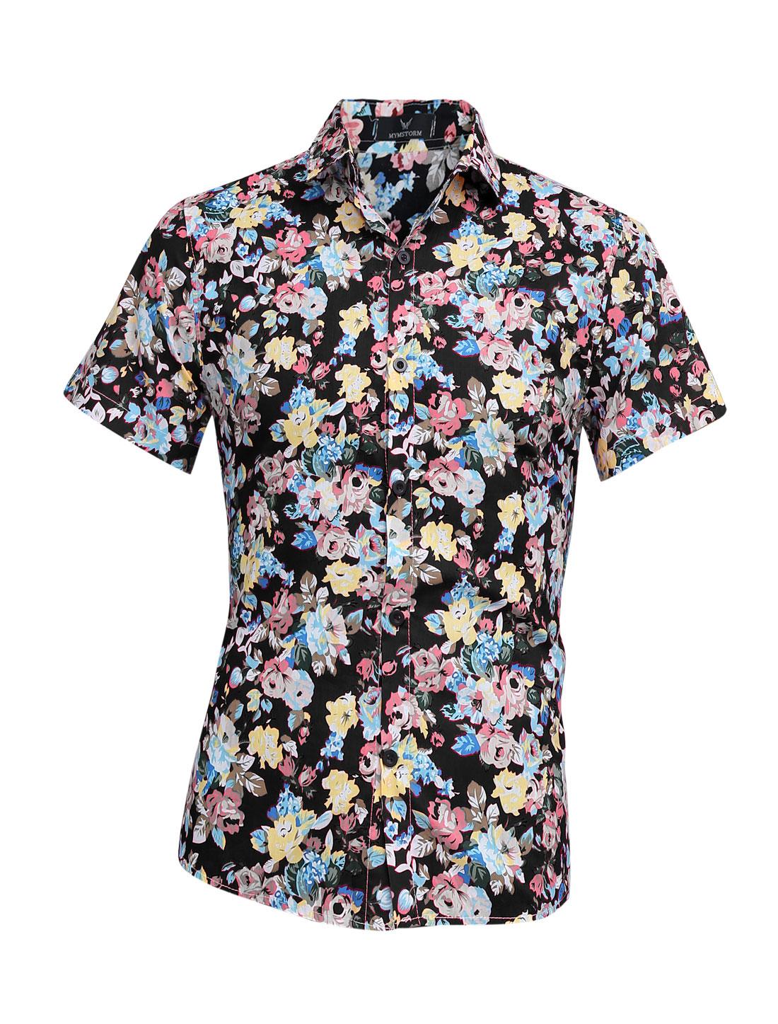 Men Summer Point Collar Flower Pattern Casual Top Shirt Black M