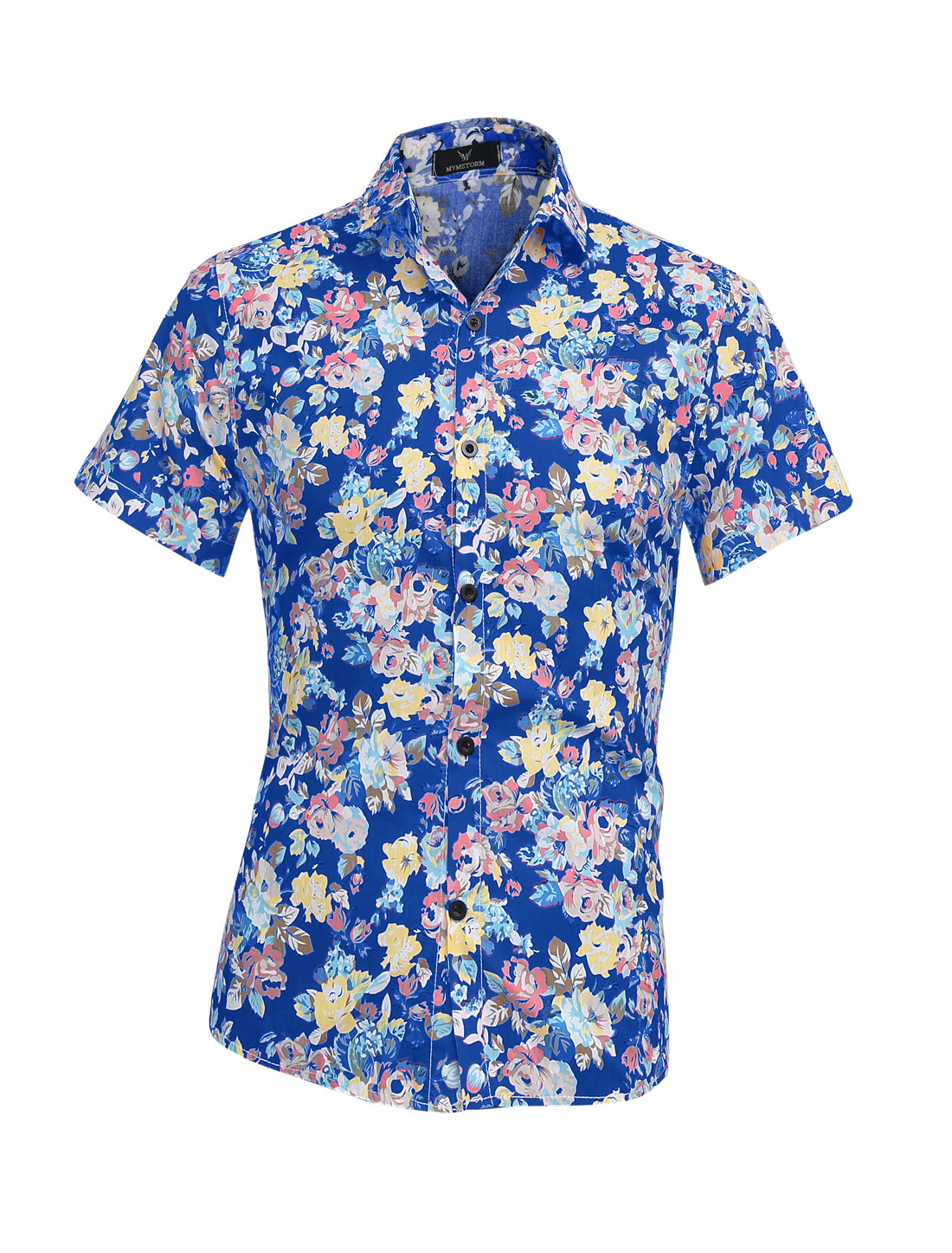 Men Summer Buttons Up Closed Flower Pattern Top Shirt Royal Blue M