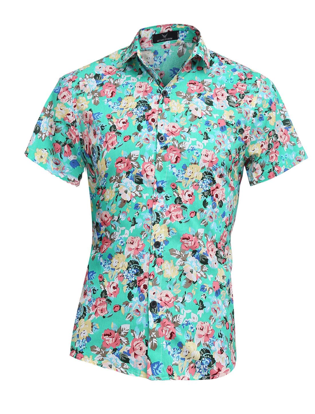 Summer Chic Buttons Up Closed Flower Pattern Shirt for Men Aqua M