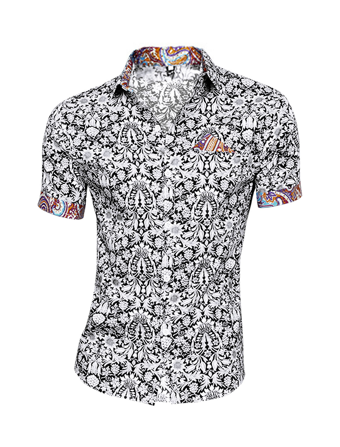 Men Point Collar Floral Prints Fake Welt Pocket Summer Top Shirt Black White M