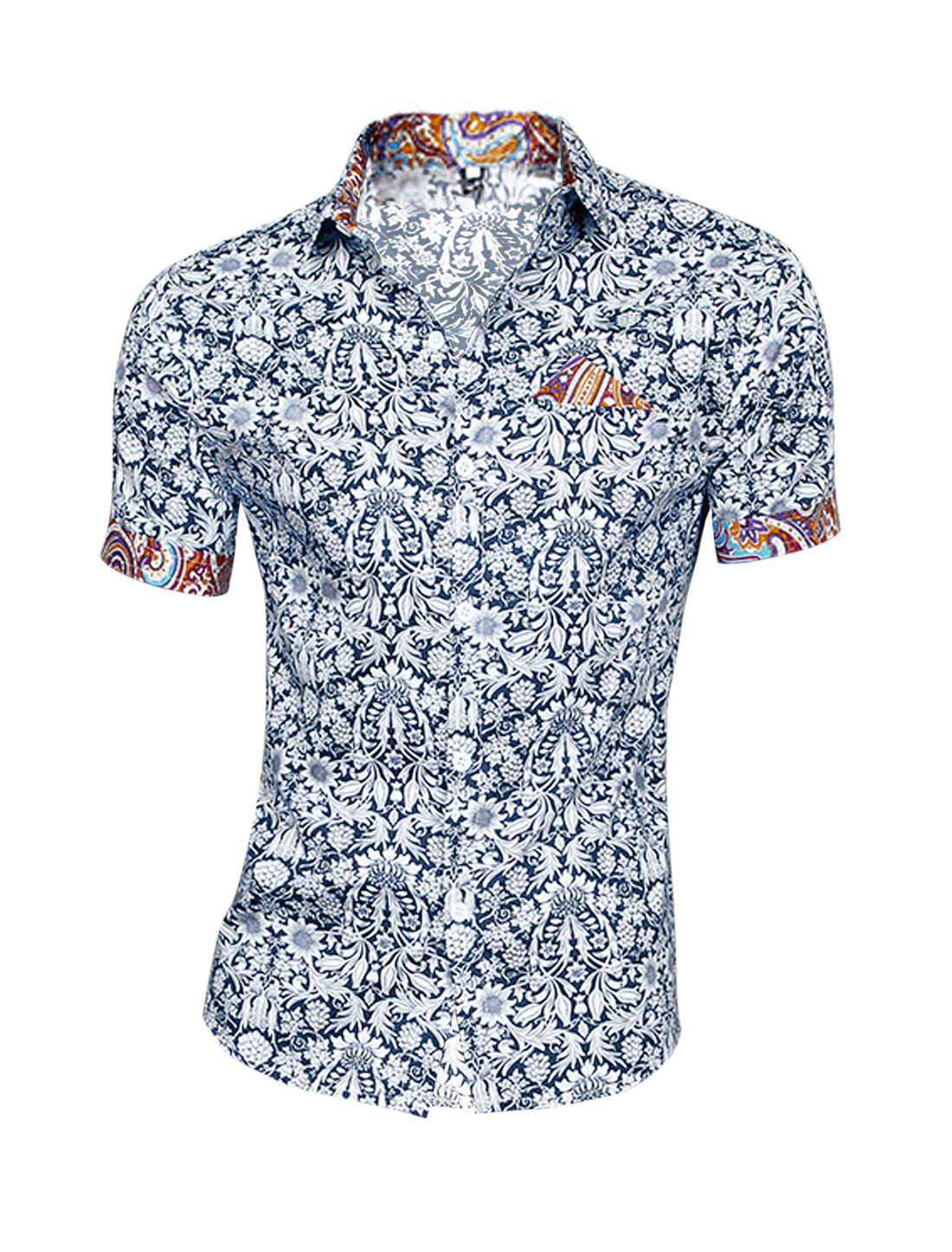 Men Floral Prints Handkerchief Decor Summer Top Navy Blue White M