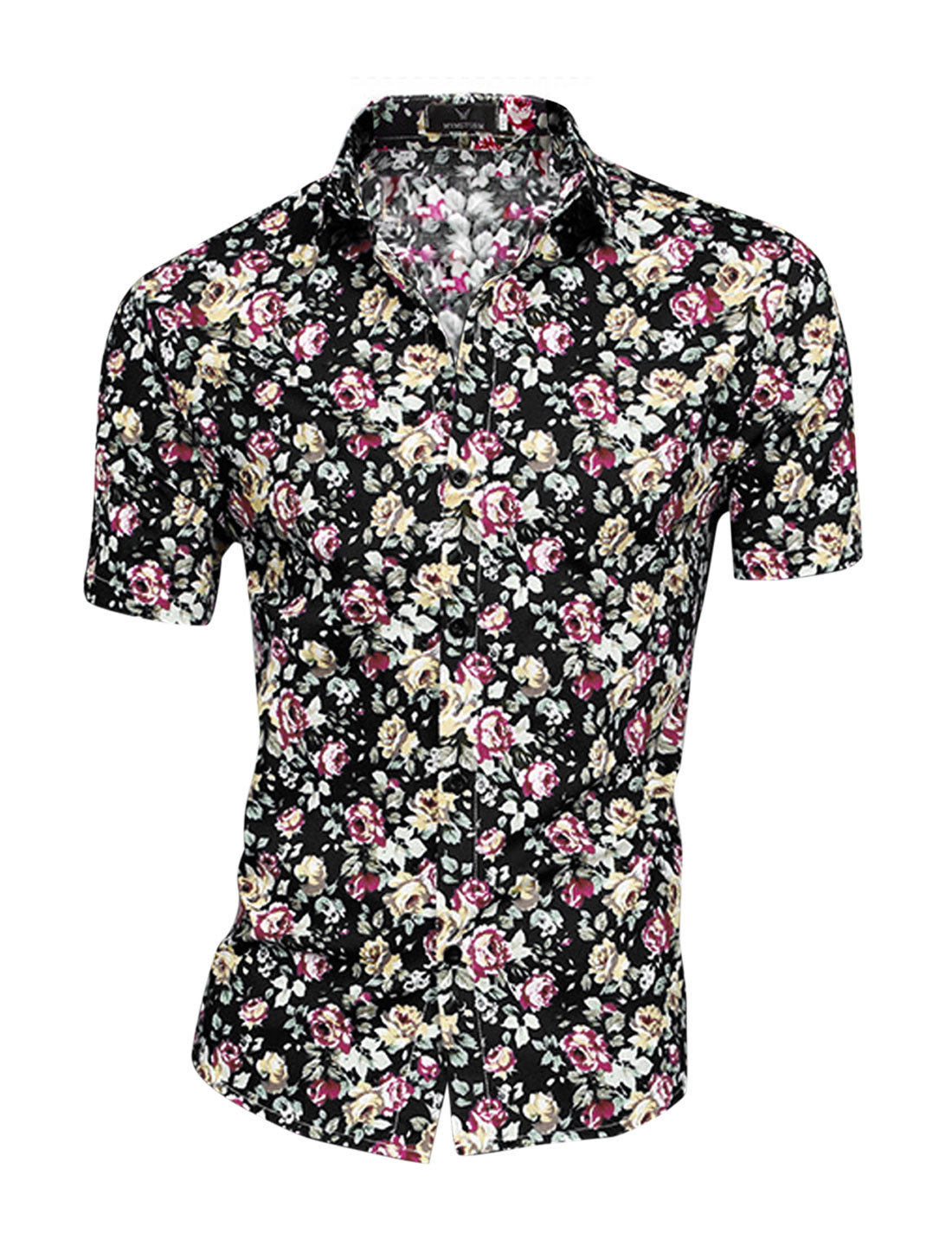 Men Chic Flower Pattern Single Breasted Casual Style Shirt Black Fuchsia M