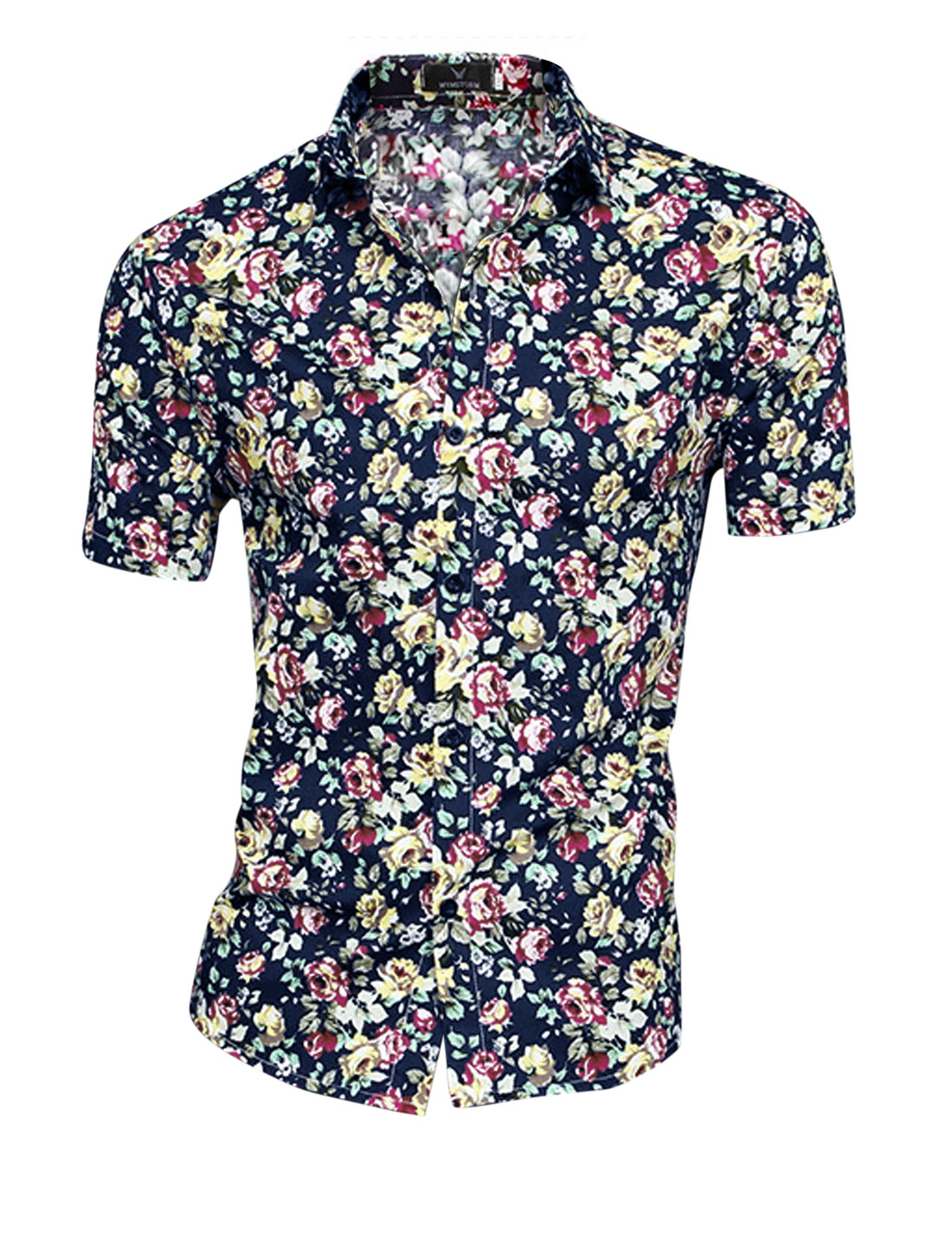 Men Flower Pattern Buttons Closed Casual Style Top Navy Blue Fuchsia M