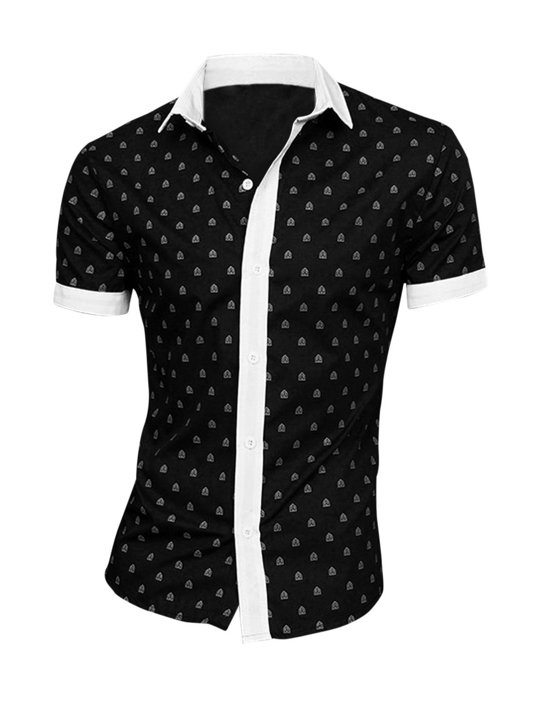 Men Point Collar Shield Pattern Patching Stylish Shirt Black M