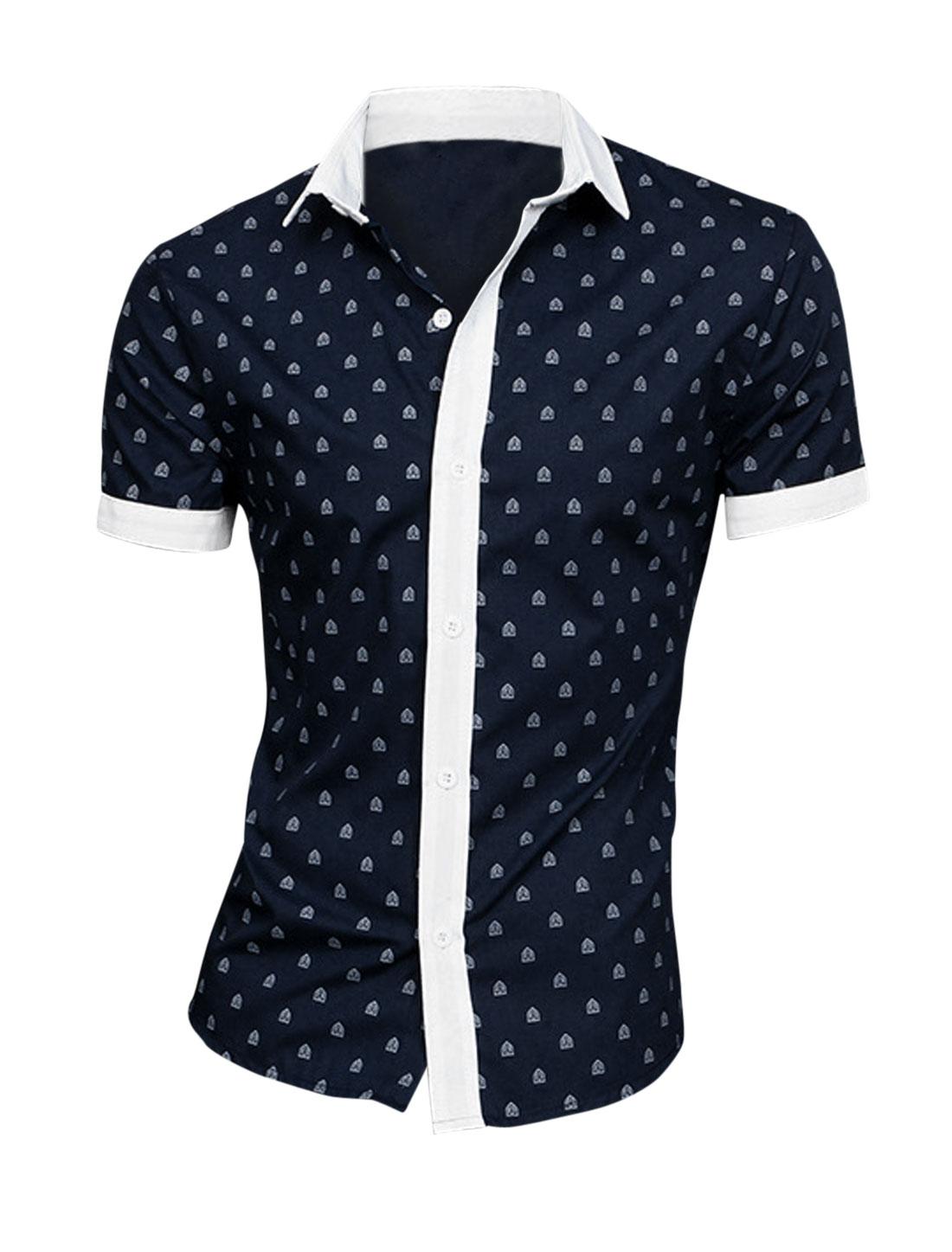 Men Shield Pattern Buttons Up Closure Stylish Shirt Navy Blue M