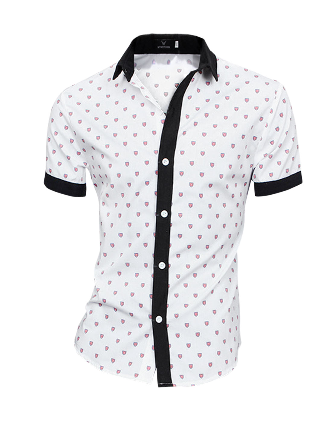 Shield Pattern Buttons Closure Stylish Shirt for Men White M
