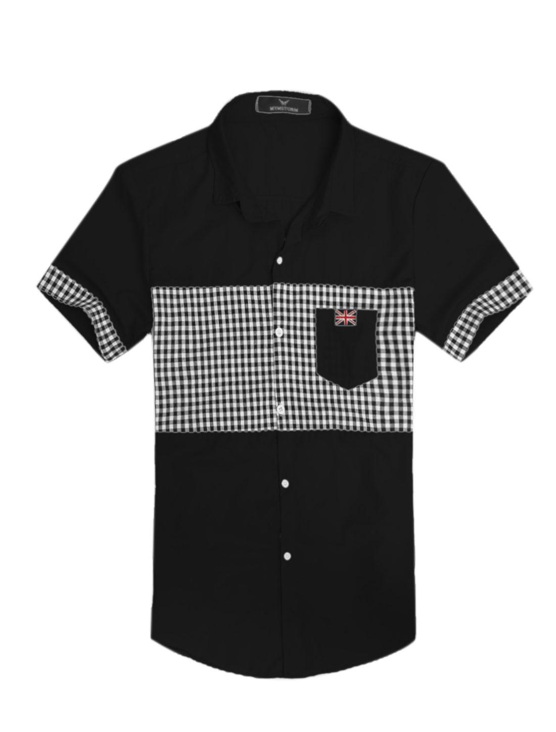 Men Point Collar Plaids Buttons Closed Slim Fit Top Shirt Black M