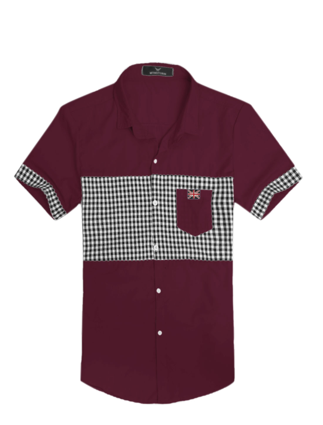 Men Point Collar Union Flag Applique Slim Fit Top Shirt Burgundy M