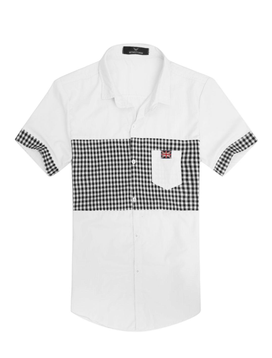 Men Plaids Pattern Union Flag Applique Slim Fit Top Shirt White M