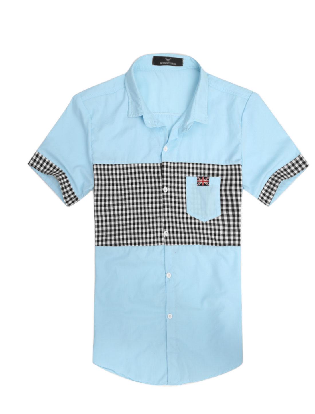 Men Plaids Panel Union Flag Applique Chic Top Shirt Light Blue M