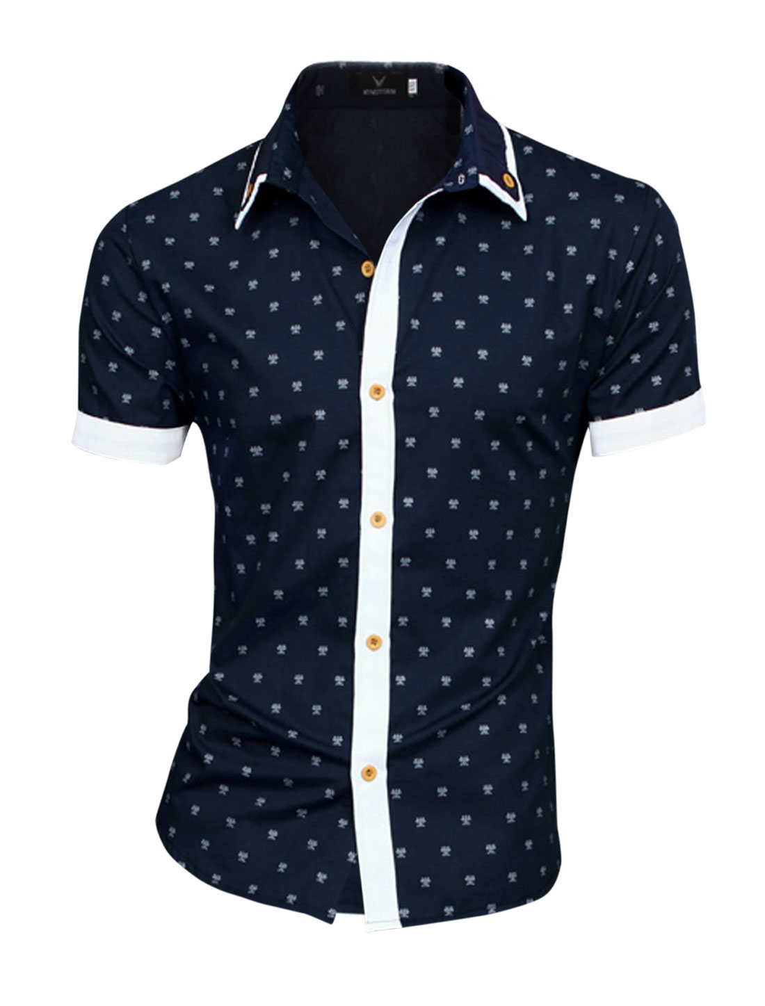 Men Short Sleeve Beetle Pattern NEW Top Shirt Navy Blue M
