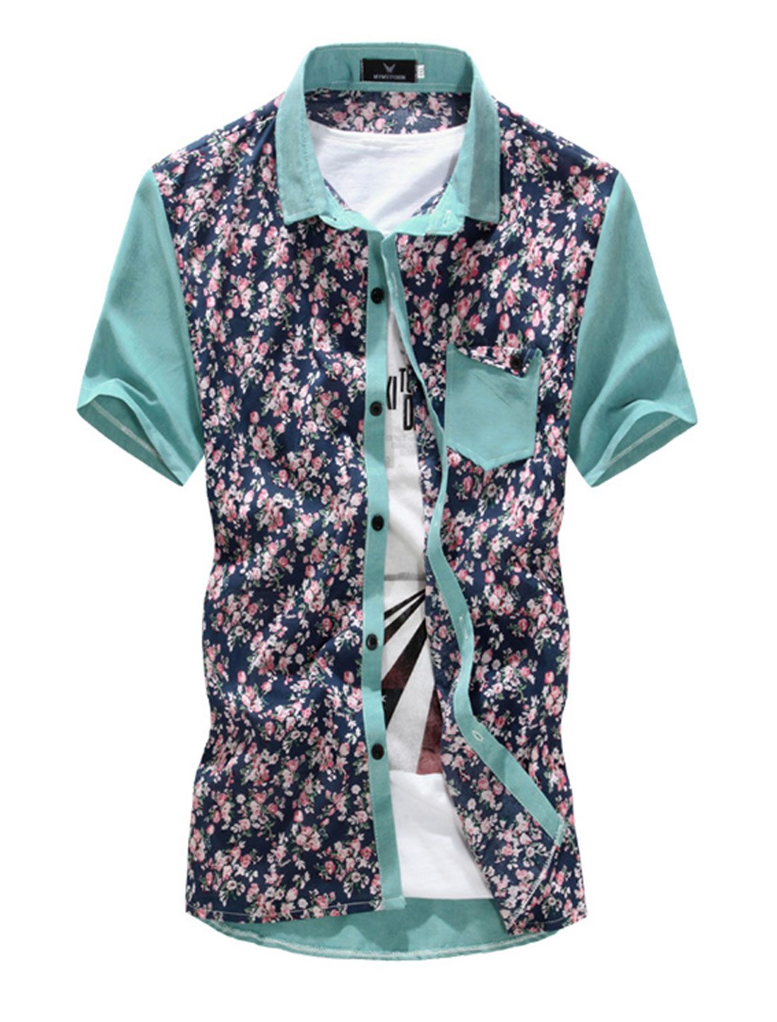 Men Flower Pattern Single Breasted Short Sleeve Casual Shirt Light Green M