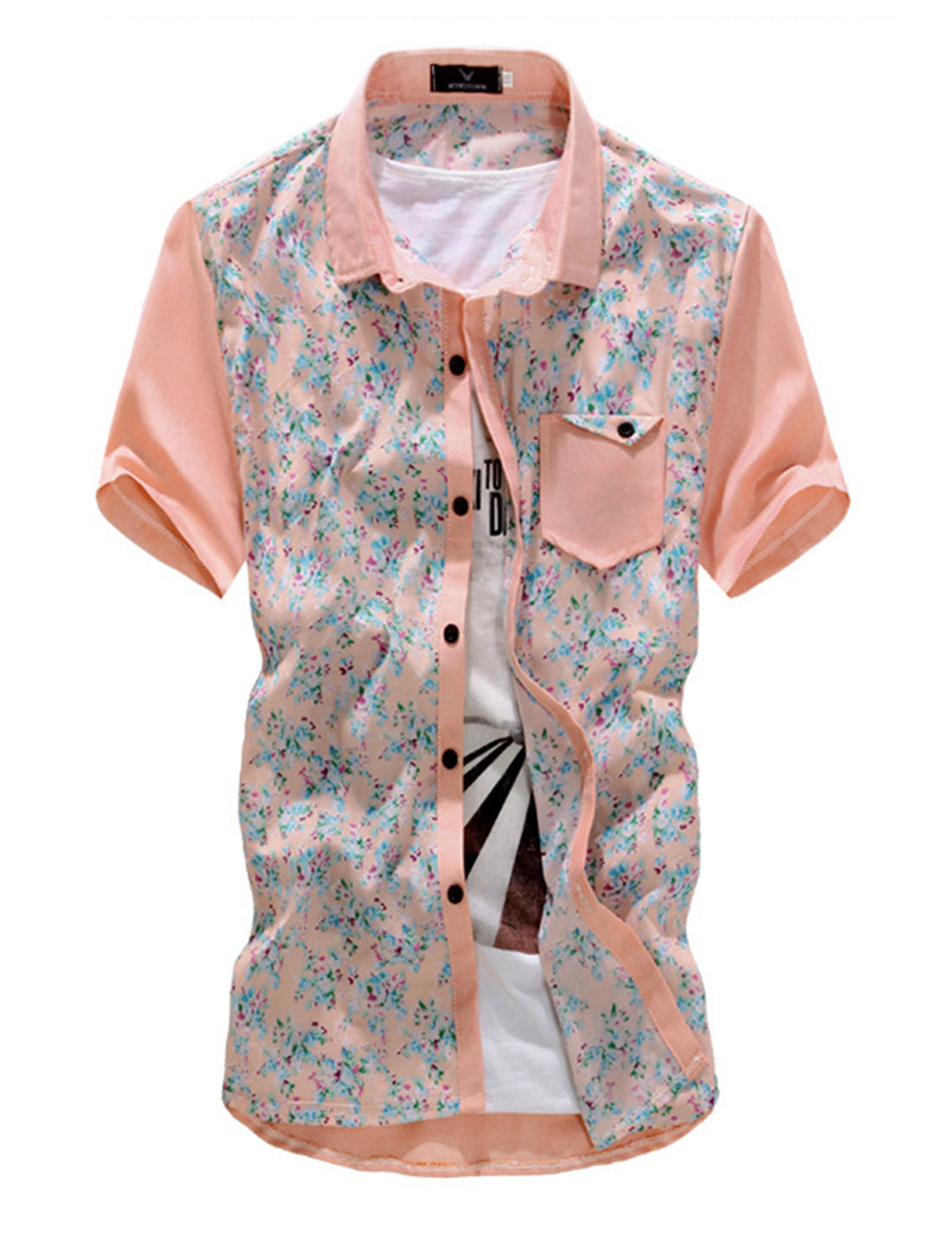 Men Point Collar Floral Prints Single Breasted Short Sleeve Shirt Pink M