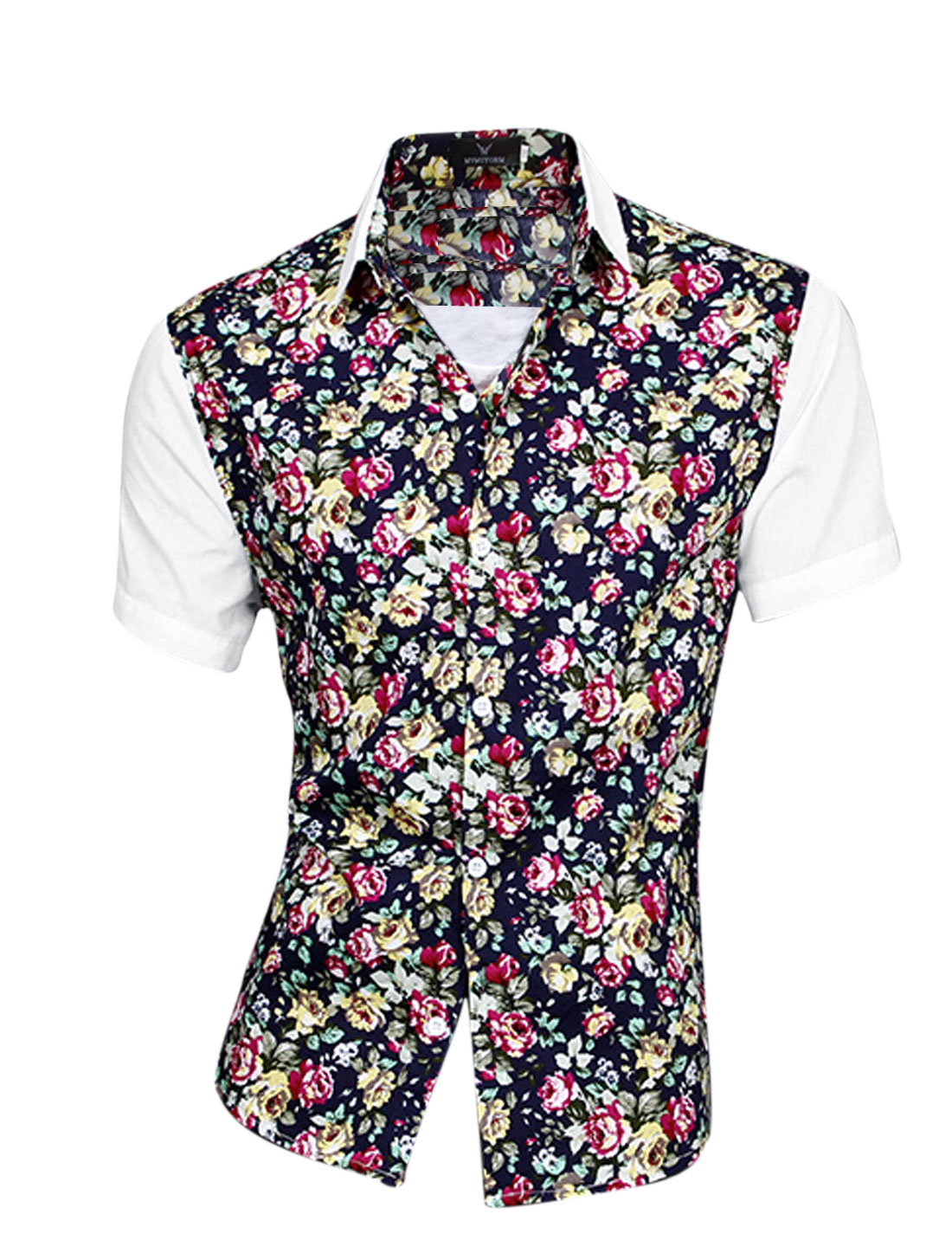 Men Panel Design Floral Prints Single Breasted Shirt White M