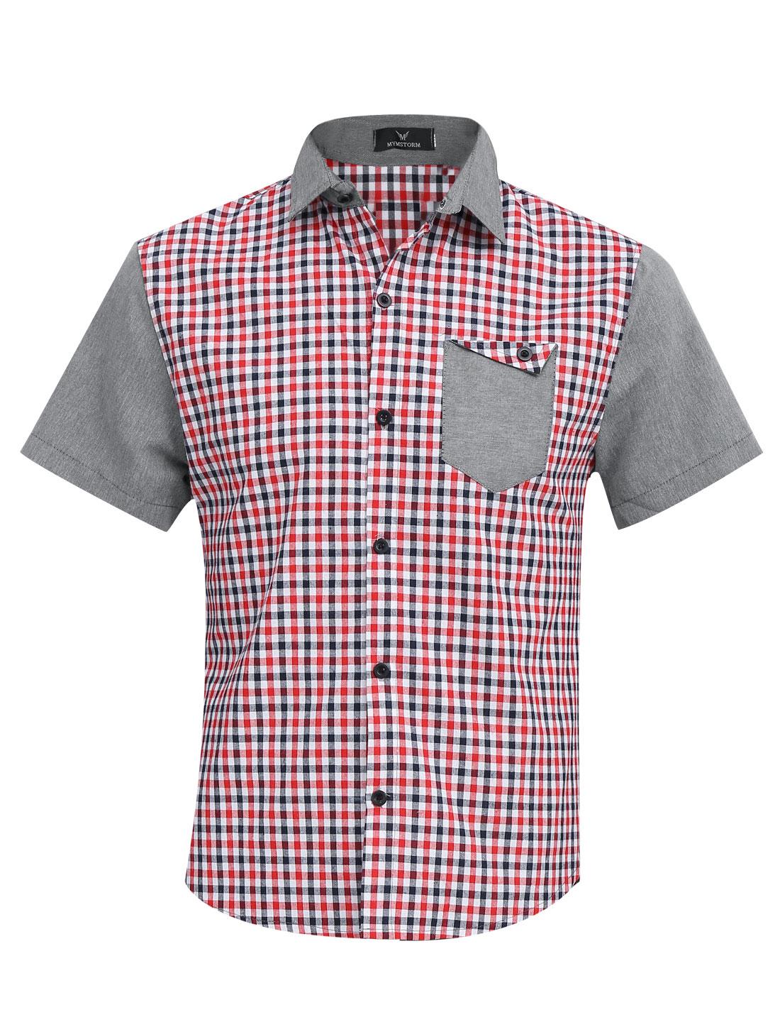 Men Fashion Point Collar Plaids Pattern Splicing Shirt Red Light Gray M