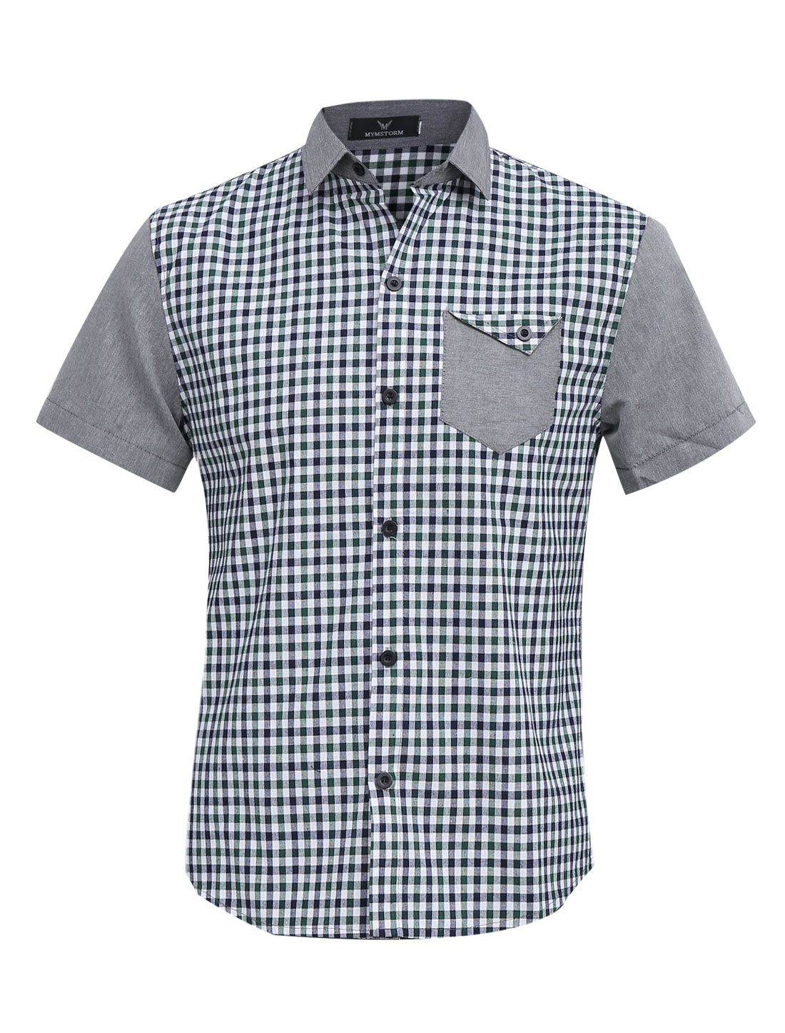 Men Chic Buttons Closed Plaids Pattern Splicing Shirt Green Light Gray M