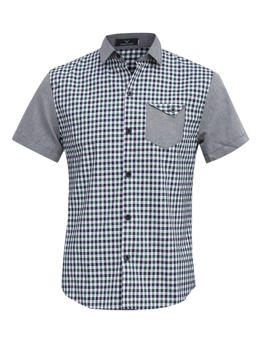 Men Chic Buttons Closed Plaids Pattern Splicing Shirt Green Light Gray M