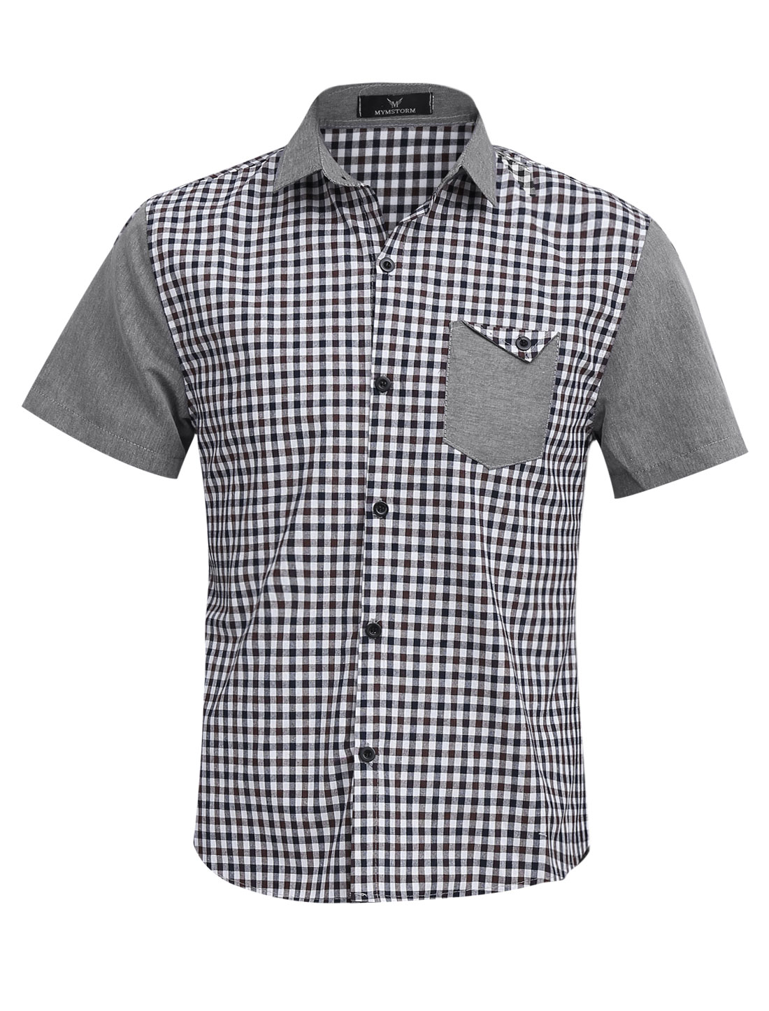 Men Chic Buttons Closed Plaids Chest Pocket Top Coffee Light Gray M