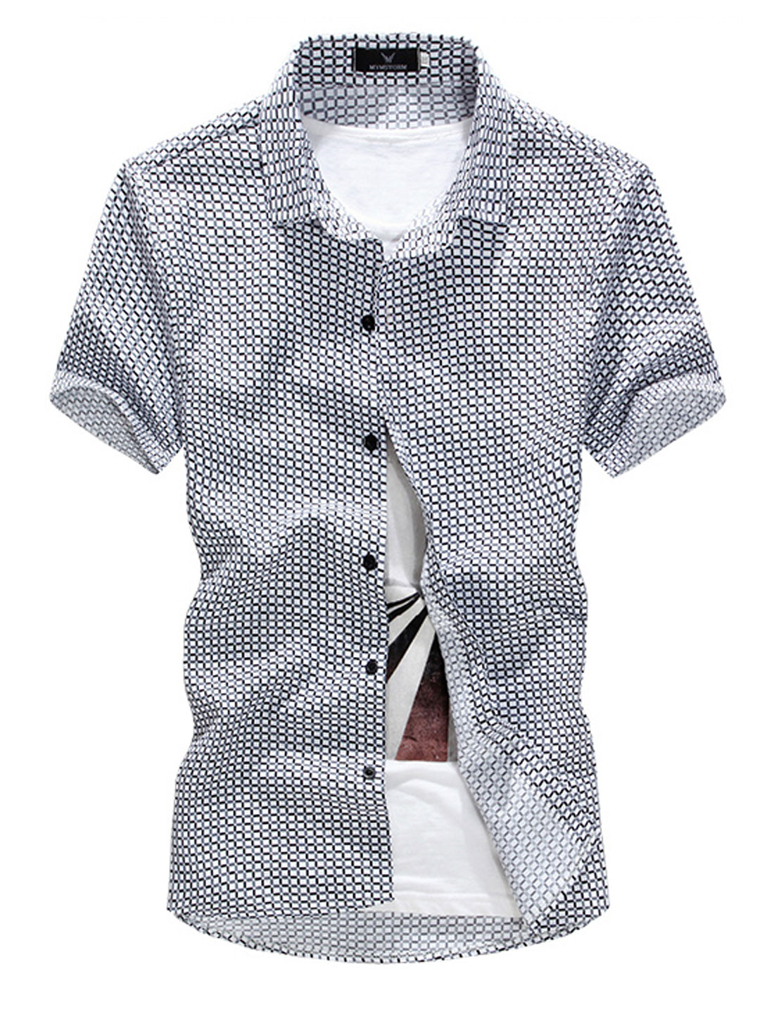 Men Point Collar Plaids Button Front Leisure Shirt Black M